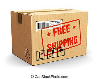 doboz, bélyeg, kartonpapír, szabad, hajózás