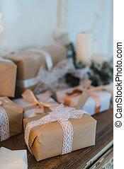 doboz, barna, elkészített, tehetség, összpontosít, bows., kéz, ajándékoz, szelektív, ízléses, karácsony