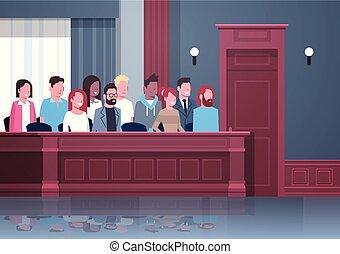 doboz, belső, ülés, emberek, faj, esküdtszék, portré, elegyít, tárgyalóterem, bíróság, horizontális, megpróbáltatás, ülésszak, becsül, modern, eljárás