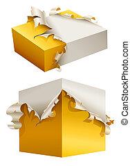 doboz, csomagolás, szakadt, sárga, tehetség