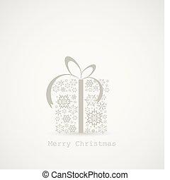 doboz, elkészített, hópihe, ajándék, karácsony