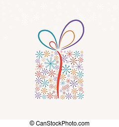 doboz, elkészített, hópihe, (vector), christmas ajándék