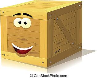 doboz, erdő, betű, karikatúra