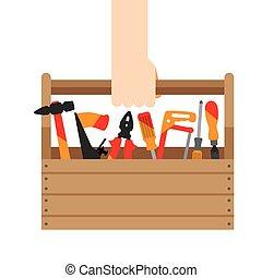 doboz, eszközök, kéz