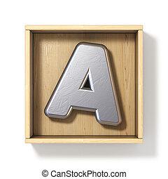 doboz, fából való, fém, levél, ezüst, 3