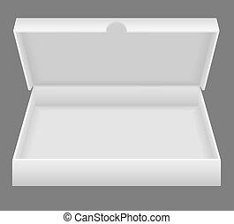 doboz, fehér, nyílik, csomagolás, ábra