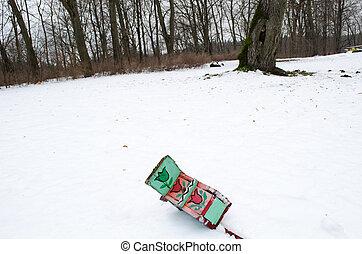 doboz, fekszik, tél, festett, hó, fészkelés, bukott, madár