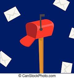 doboz, felad, futár, csomag, szerszám, envelope., kiszolgáltat, hajózás, felszabadítás, vektor, hordozó, profi, állás, postázás, letterbox, foglalkozás
