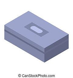 doboz, garázs, ikon, isometric, mód