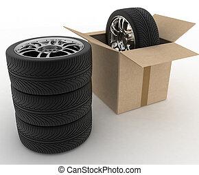 doboz, gumiabroncsok, kartonpapír, nyílik