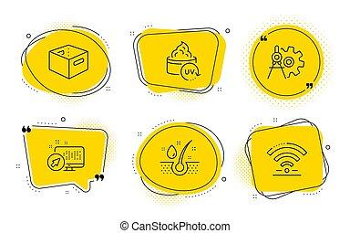 doboz, háló, olaj, hivatal icons, rendszer, uv protection, szérum, vektor, signs., wifi, cogwheel, mérőkörző, set.