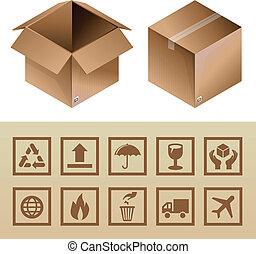 doboz, ikonok, becsomagol felszabadítás, vektor, kartonpapír