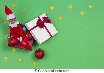 doboz, játékszer, csillag, ülés, fény, tető, karácsony, dekoráció, háttér., piros zöld, eff, kilátás, fénylik, csecsebecse, ajándék, karácsony