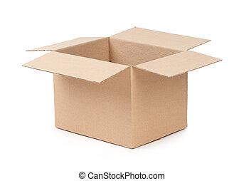 doboz, kinyitott, csomag