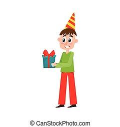 doboz, lakás, nagy, születésnap, vektor, birtok, ajándék, ember