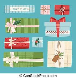 doboz, lakás, vektor, giftbox, tehetség, konzervál, cél, elszigetelt, ábra, íj, születésnap, háttér, ünneplés, vagy, ajándék, karácsony