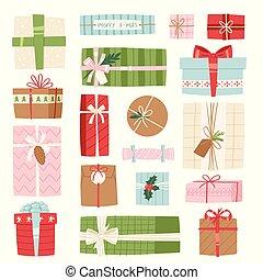 doboz, lakás, vektor, tehetség, konzervál, cél, elszigetelt, ábra, íj, születésnap, háttér, fehér, ünneplés, vagy, ajándék, karácsony
