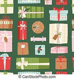 doboz, lakás, vektor, tehetség, konzervál, seamless, cél, ábra, íj, születésnap, motívum, háttér, ünneplés, vagy, ajándék, karácsony