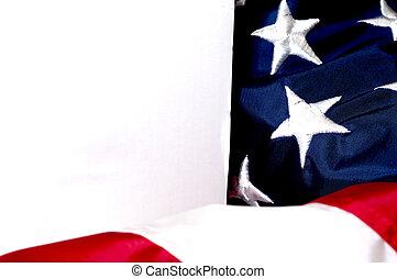 doboz, lobogó, amerikai, closeup, tiszta, fehér