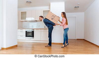 doboz, nő, neki, odaad, lépés bábu