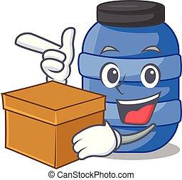 doboz, nagy, műanyag, kémiai, puskacső, karikatúra
