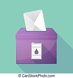 doboz, olaj, hosszú, árnyék, szavazócédula, puskacső