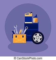 doboz, olaj, szerelő, gallon, puskacső, eszközök