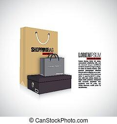 doboz, pantalló, bevásárlás, cipők, elszigetelt, háttér., vektor, fehér, illustration.