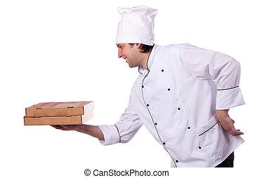 doboz, séf, birtok, hím, nyílik, pizza