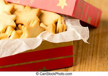 doboz, süti, csillag, dekoráció, karácsony, piros