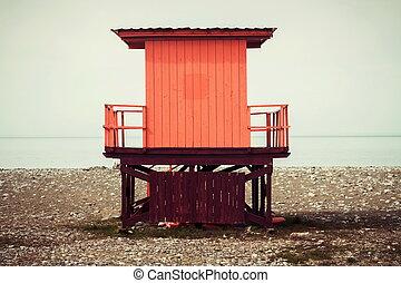 doboz, savers, élet, este, tengerpart