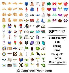 doboz, set., előjegyez, ökölvívás, bizottság, ország, íj, vektor, játékok, ábra, brazília, bouguets, ikon
