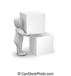 doboz, szállítás, ember