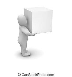 doboz, szállítás, ember, tiszta