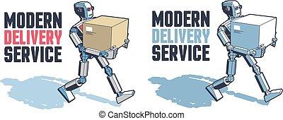 doboz, szállít, ember, csomag, robot