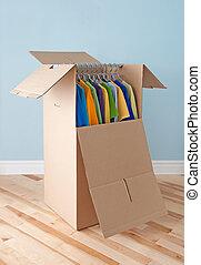 doboz, színes, szekrény, mozgató, hajlandó, öltözet