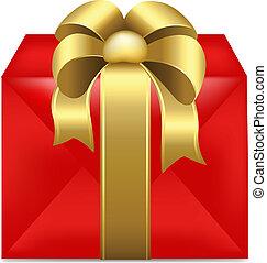 doboz, szalag, arany, tehetség, piros
