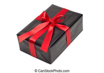 doboz, tehetség, felett, íj, háttér., black piros, white satin, szalag