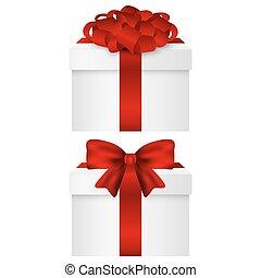 doboz, tehetség, gyűjtés, íj, vektor, piros
