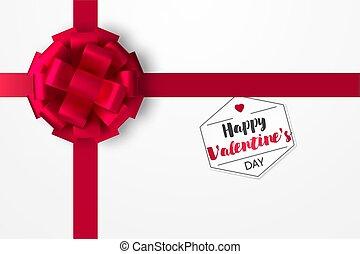 doboz, tehetség, valentine's, szt., ünnepies, ábra, íj, day., gyakorlatias, vektor, piros