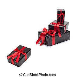 doboz, tehetség vonó, black piros, satin szalag