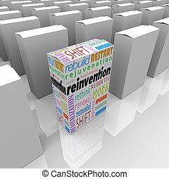 doboz, termék, előny, versenyképes, egy, reinvention, új, ...