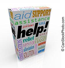 doboz, vásárló, termék, segítség, segítség, szavak, eltart