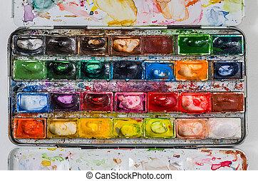 doboz, vízfestmény, kilátás, terv, festék