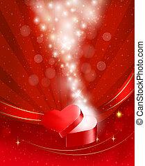 doboz, vector., tehetség, valentine s, íj, háttér, ribbons., nyílik, nap, piros