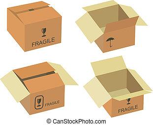 doboz, vektor, hajózás