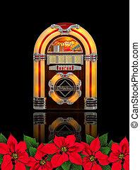 doboz, virág, díszítés, mikulásvirág, rádió, karácsony, piros, juke