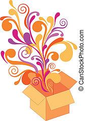 doboz, virágos, vektor, tervezés, tehetség