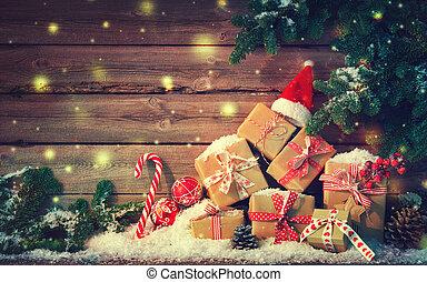 dobozok, dekoráció, tehetség, háttér, karácsony