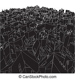 dobozok, elvont, köb, város, városi